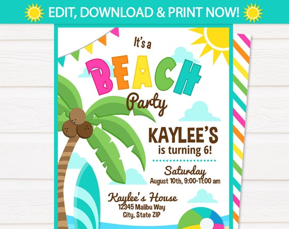 Beach Party Invitations , Beach Theme Party - Pink Beach Birthday Party - Girls Beach Birthday Invitations - INSTANT ACCESS - Edit Now