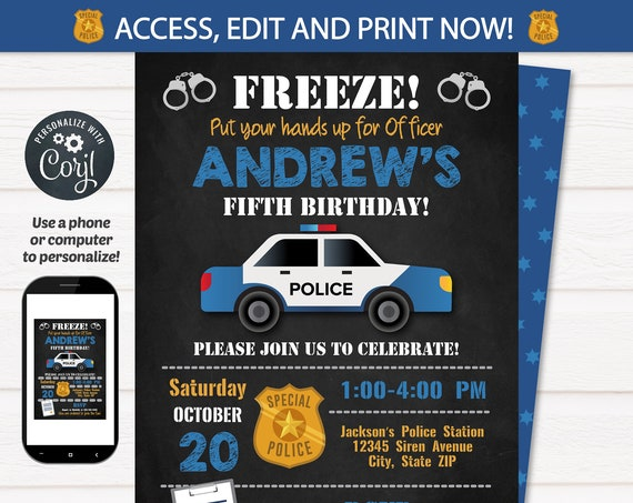 Police Birthday Invitations, Policeman Invitations, Police Party Invitation - Policeman Party Invitation - Police Birthday Party - Corjl