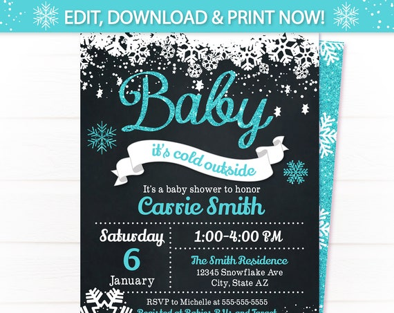 Baby Its Cold Baby Shower Invitation - Baby It's Cold Outside Invitation - Winter Baby Shower - Blue Baby Shower Invitation - Winter Invite