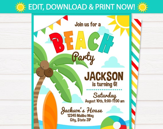 Beach Party Invitations , Beach Theme Party - Beach Birthday Party Invitations - Beach Birthday Invitations - INSTANT ACCESS - Edit NOW!