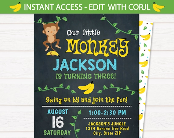 Monkey Birthday Invitation - Monkey Invitation - Monkey Themed Invitations - Edit NOW at home with Templett.com! - Monkey Party Supplies