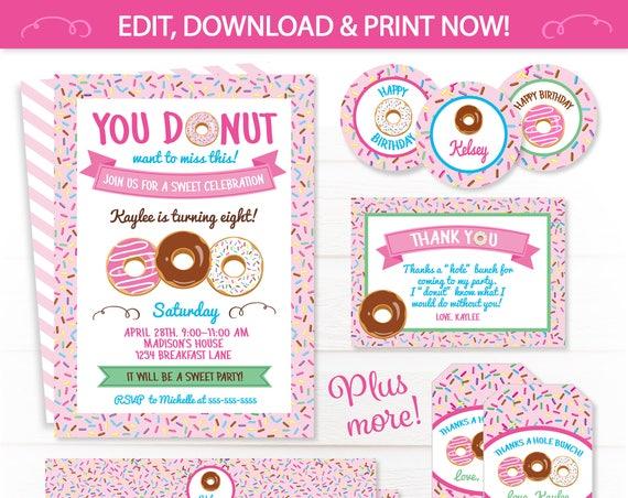 Donut Themed Party Invitations - Donut Party Supplies - Donut Party Favors - Donut Birthday Invitations - INSTANT ACCESS - Edit NOW!