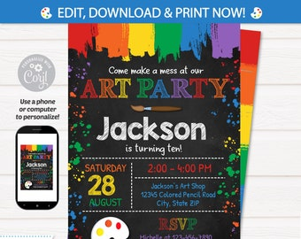 Art Party Invitation - Art Invitation - Art Birthday Party - Painting Party - INSTANT ACCESS - Edit NOW with Corjl in your browser!