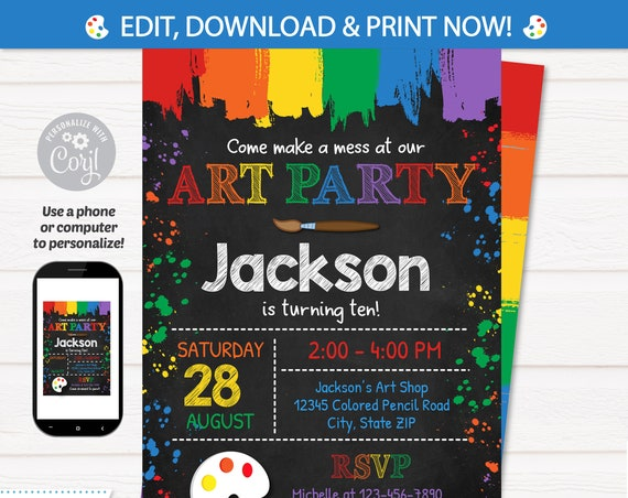 Art Party Invitation - Art Invitation - Art Birthday Party - Painting Party - Art Invitation - Art Party Ideas - INSTANT ACCESS - Corjl