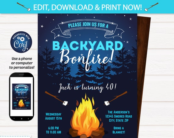 Bonfire Invitation - Camping Birthday Invitations - Backyard Party Invitation - Backyard BBQ Invitation - Bonfire Birthday - INSTANT ACCESS!