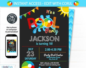 Pool party invite etsy pool party invitation swimming pool birthday party pool party swimming birthday swimming party supplies instant access edit now filmwisefo