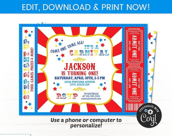 Carnival Invitation - Carnival Theme Party - Carnival Party Invitation - Carnival Ticket Invitations - Circus - INSTANT ACCESS - Edit NOW!