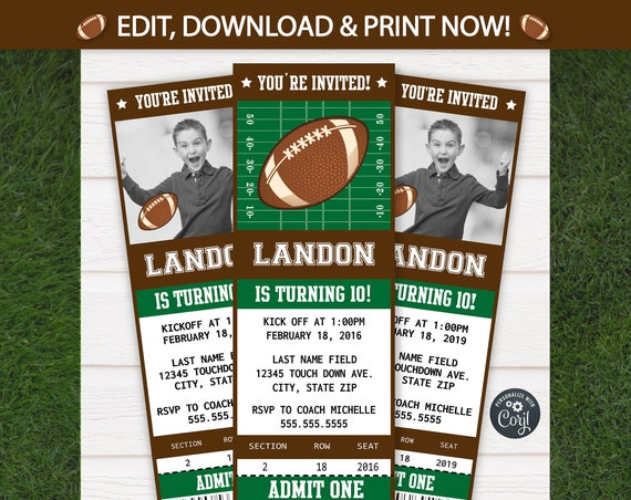 Football Invitation - Football Party Invitation - Football Birthday Invitations - Football Party Supplies - Football Invites - Edit NOW!