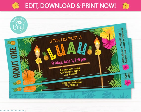 Luau Ticket Invitation - Luau Party Invitations - Summer Party Invitation - Luau Invitation - Hawaiian Luau Invitation - Edit NOW!