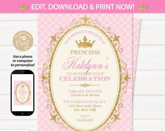 Princess Invitations - Princess Birthday Party Invitations - Princess Party Invitations - INSTANT Access! Edit NOW! Princess Theme Party