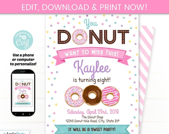Donut Birthday Invitation - Donut Party - Donut Themed Party - Pink Donut Party Supplies - INSTANT ACCESS - Edit NOW! Donut Breakfast
