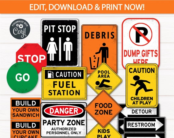 Construction Party Signs - Construction Birthday Party - Construction Signs - Road Construction Birthday -  INSTANT ACCESS- Edit with Corjl