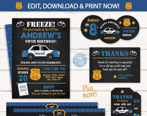 Police Party Invitations - Police Birthday Invitations - Police Party Supplies - Police Thank You Cards - INSTANT ACCESS - Edit NOW!