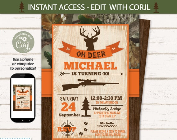Hunting Party Invitations, Hunting Birthday Party Invitation - Hunting Theme Party Invitation - INSTANT ACCESS- Edit NOW with Corjl.com