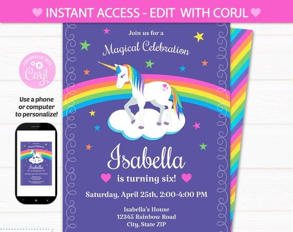 Unicorn Invitations - Unicorn Party Invitation- Unicorn Birthday Invitation - Unicorn Theme Party - INSTANT ACCESS - Edit NOW! Corjl