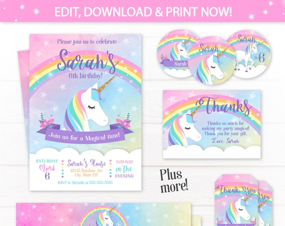 Unicorn Invitations - Unicorn Party - Unicorn Labels - Unicorn Birthday Invitations - Unicorn Thank You - INSTANT ACCESS - Edit NOW!