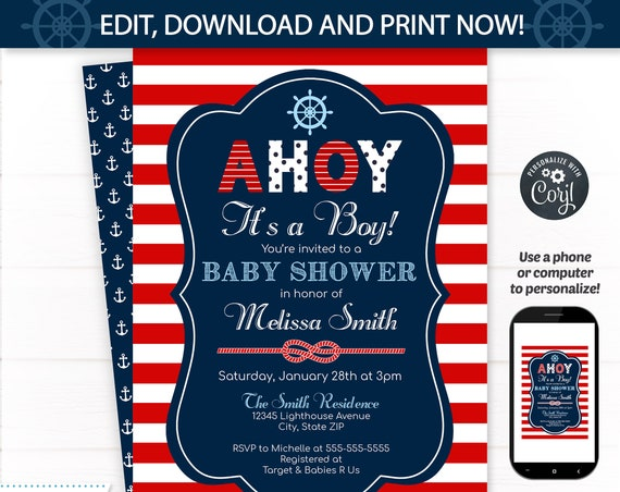 Nautical Baby Shower Invitations - Nautical Invitation - Nautical Shower -  Nautical Party Invitations - INSTANT ACCESS - Edit NOW!