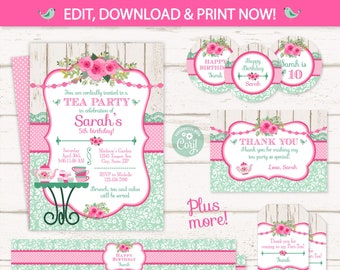 tea party invitations tea party birthday invitations tea party thank you cards tea party supplies instant access edit now
