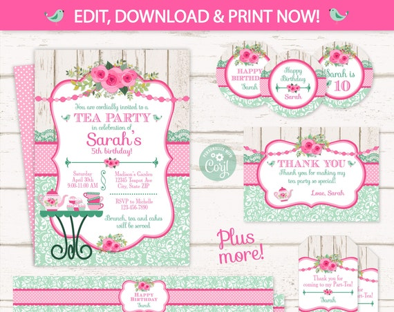 Tea Party Invitations - Tea Party Birthday Invitations - Tea Party Thank You Cards - Tea Party Supplies - INSTANT ACCESS - Edit NOW!