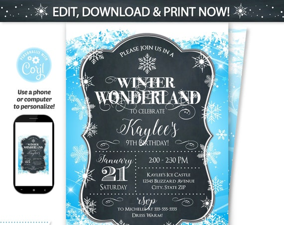Winter Wonderland Party Invitations - Winter Wonderland Birthday Invitation - Winter Birthday - Winter Party - Instant Access - Edit Now!