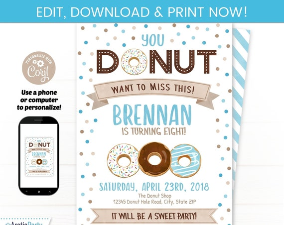Boys Donut Birthday Invitation - Donut Party for boys - Donut Themed Party - Blue Donut Party Invite - INSTANT ACCESS - Edit NOW! Breakfast