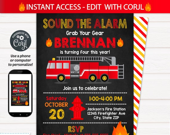 Fire Truck Birthday Party Invitations , Firetruck Party -  Fire Truck Invitations - Firetruck Birthday Party - INSTANT ACCESS - Edit NOW!