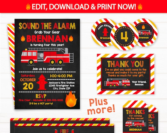 Fire Truck Invitations , Firetruck Party -  Fire Truck Labels - Firetruck Birthday Party - Firetruck Banner - INSTANT ACCESS - Edit NOW!