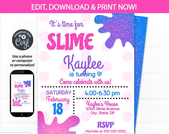 Slime Party Invitations - Slime Invitation - Slime Theme Party - Slime Birthday - Glitter Slime - Party Supplies - INSTANT ACCESS - Edit NOW