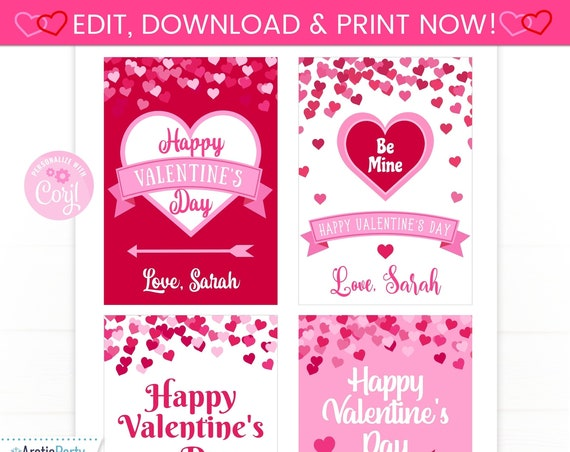 Valentine's Day Cards - Editable Valentine Cards - Custom Valentine's - Valentine's Day Favor Tags - Valentine Labels - INSTANT ACCESS