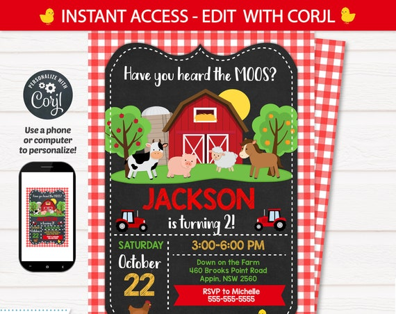 Chalkboard Farm Party Invitation, Farm Themed Party Invitation, Barnyard Party Invitation, Farm Party Invitation - INSTANT ACCESS - Edit NOW
