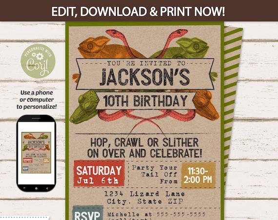 Reptile Invitation - Lizard Invitation - Reptile Party Invitation - Reptile Birthday - Reptile Party Invitation - INSTANT ACCESS - Edit NOW