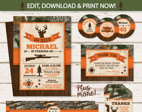 Hunting Birthday Invitations, Hunting Theme Party - Hunting Invitation - Hunting Party Supplies - Hunting Decor - INSTANT ACCESS