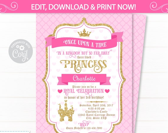 Princess Party Invitations - Princess Invitation - Princess Birthday Invitations - Princess Party Invitations - INSTANT ACCESS - Edit NOW!