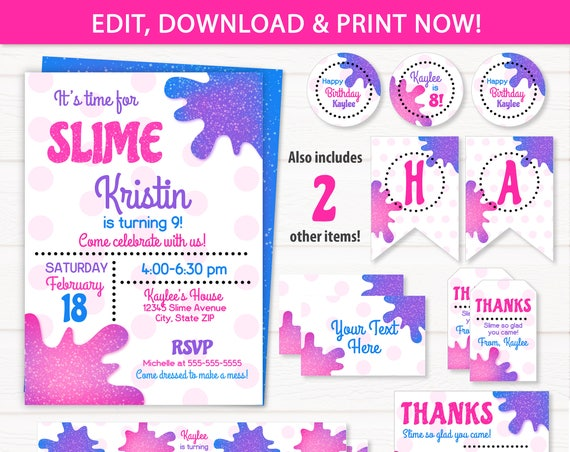 Slime Party Invitations, Slime Party Supplies - Slime Labels - Slime Birthday Party Ideas - Pink Slime Invitations - INSTANT ACCESS