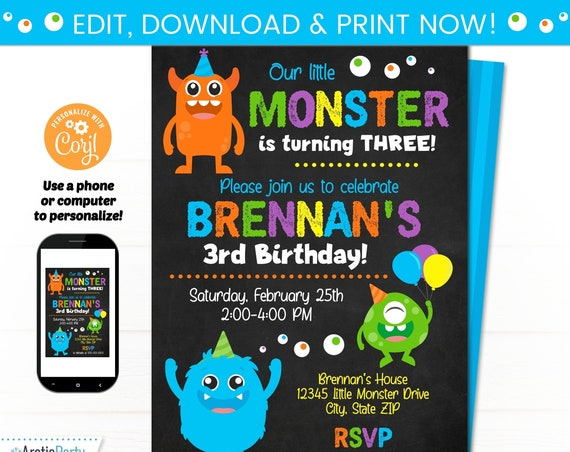 Monster Birthday Invitations - Monster Invitation - Monster Party Invites - INSTANT ACCESS - Edit NOW! - Monster Party Supplies