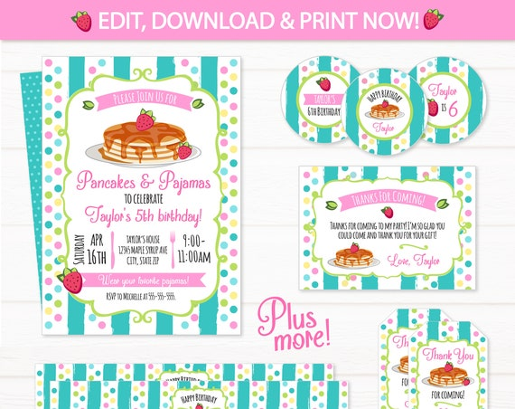 Pancake and Panjamas Invitation - Pancake Birthday Party Pack - Breakfast Birthday - Pancake Party Invitation - Edit NOW!