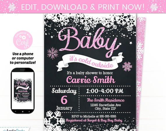 Girl Baby Its Cold Baby Shower Invitation - Baby Shower Supplies - Girl Baby Shower Invites - Pink Baby Shower Invitations - Winter