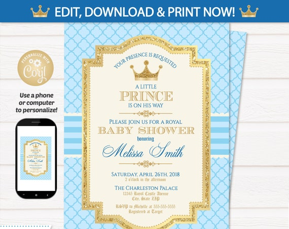 Royal Prince Baby Shower Invitations - Prince Party Invitations - Baby Shower Prince Party Supplies - INSTANT ACCESS - Edit NOW Royal Prince