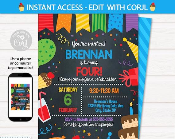 Birthday Party Invitation Template - Birthday Invitations - Birthday Party Supplies - Party Invitations -INSTANT access! Edit NOW! Corjl
