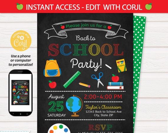 Back to School Party Invitation - Back to School Invitation - Classroom Party - School Party Supplies - INSTANT Access - EDIT at home NOW!