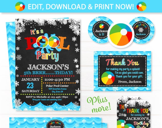 Pool Party Invitations - Winter Pool Party - Swim Party - Pool Birthday Invitations - Pool Thank You Cards - Pool Party Favors - Chalkboard