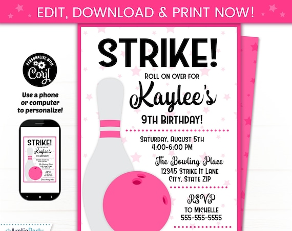Bowling Party Invitations - Girls Bowling Birthday - Bowling Birthday Party Invitation - Pink Bowling Invitation - Bowling Party Supplies
