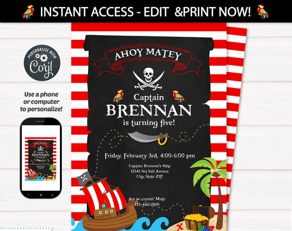 Pirate Invitation - Pirate Party Invitations - Pirate Birthday Party Invites - Pirate Party Supplies - Pirate Themed Party - INSTANT ACCESS!