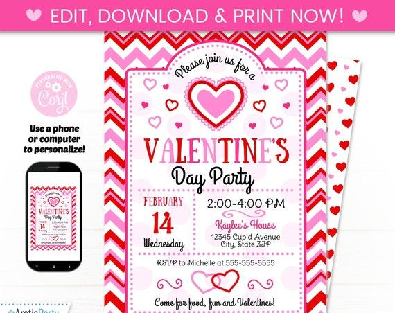 Valentine's Invitation - Valentine Party Invitations - Valentines Party Supplies - Valentine Class Party - Valentine Party Ideas