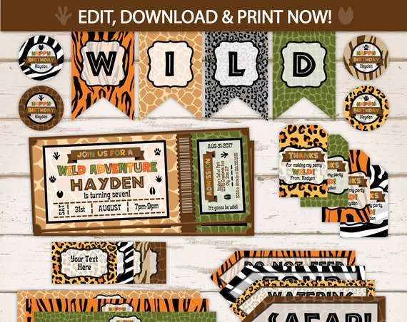 Safari Birthday Pary Invitations - Safari First Birthday -  Animal Print - Jungle Party - Safari Party Supplies - Zoo Party Supplies