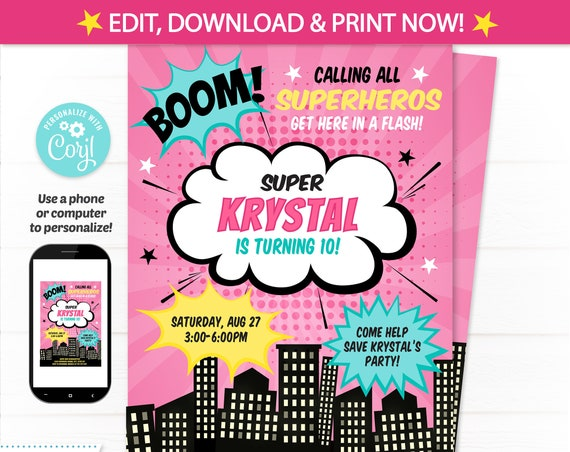 Girl Superhero Party Invitations - Superhero Invitations - Superhero Birthday Invitations - INSTANT DOWNLOAD - Edit NOW! Pink Superhero