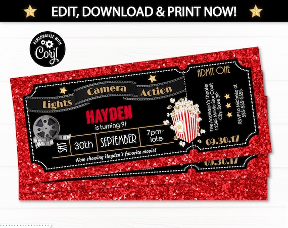 Movie Ticket Invitations - Movie Party Invitations - Hollywood Theme Party - Hollywood Party Invitations - INSTANT ACCESS! Edit NOW! Corjl