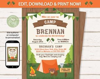Camp invitation Etsy