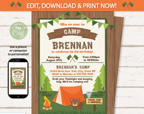 Camping Party Invitations - Camping Invitations - Camping Birthday Invitations - Campfire Invitations - Camp Party Invitation - Corjl