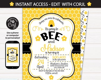Bumble Bee Birthday Invitations - Bumble Bee Party Supplies - Bee Party - Bee Themed Party - INSTANT ACCESS - Edit with Corjl